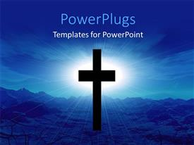 PowerPlugs: PowerPoint template with black cross with light glow from cloudy sky in desert