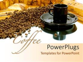 PowerPlugs: PowerPoint template with a black cup and a saucer with coffee seeds beside them