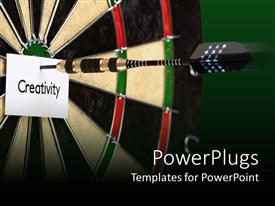 PowerPlugs: PowerPoint template with black dart hitting the center of a dart board and a paper with Creativity text