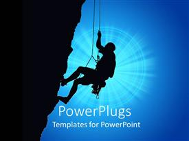 PowerPlugs: PowerPoint template with black depiction of a human silhouette climbing up the mountain, rock climber