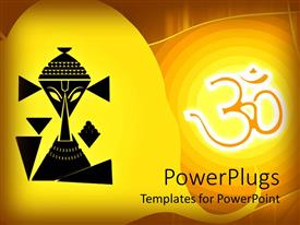 PowerPoint template displaying black depiction of Lord Ganesha on a yellow background