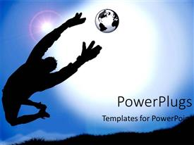 PowerPlugs: PowerPoint template with black depiction of a man in the air with risen hands trying to catch the ball that represents the transparent shape of the Globe