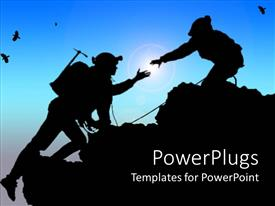 PowerPlugs: PowerPoint template with black depiction of two people climbing up a mountain and birds flying on the blue sky