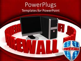 PowerPlugs: PowerPoint template with black desktop computer surrounded by a 3D fire wall text