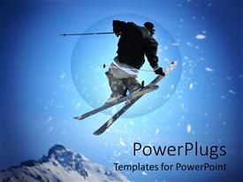 PowerPoint template displaying black dressed skier performing stunt on blue background