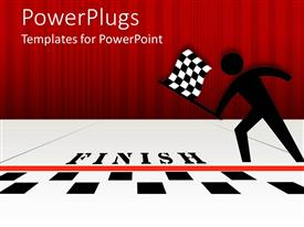 PowerPlugs: PowerPoint template with black figure with checked flag at black and white finish line