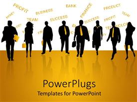 PowerPlugs: PowerPoint template with black figures of men and women business people on reflective yellow ground and yellow finance related words on white background