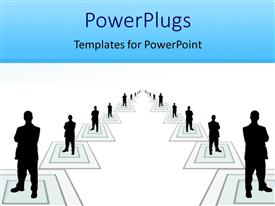 PowerPlugs: PowerPoint template with black figures of people standing in the middle of squares forming a large team