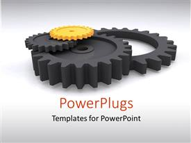PowerPlugs: PowerPoint template with black gears with one yellow gear over white background