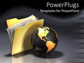 PowerPlugs: PowerPoint template with black and gold colored earth globe and a gold folder