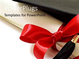 PowerPlugs: PowerPoint template with black graduation cap with red ribbon and white background
