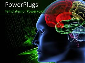 PowerPlugs: PowerPoint template with black and green background with scan of human brain