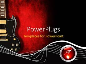 PowerPoint template displaying black guitar with music waves and symbol on red and black background