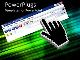 PowerPlugs: PowerPoint template with black hand cursor points to address bar of internet window