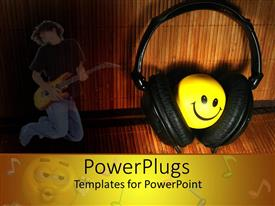PowerPlugs: PowerPoint template with black head phones covering a round yellow smiley face
