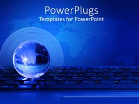 PowerPoint template displaying black keyboard with a blue earth globe on a blue background