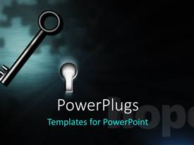 PowerPlugs: PowerPoint template with black metallic key and illuminated keyhole in black background