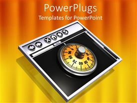 PowerPoint template displaying black metallic tablet screen with gold colored combination lock