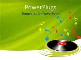 PowerPlugs: PowerPoint template with black music disc spinning with multi colored musica symbols