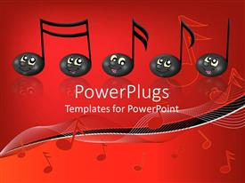 PowerPlugs: PowerPoint template with black musical notes with smiling faces, music, red background