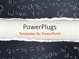PowerPlugs: PowerPoint template with black paper with mathematical formulas
