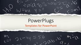 PowerPoint template displaying black paper with mathematical formulas