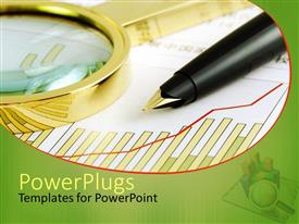 PowerPlugs: PowerPoint template with black pen and a gold colored magnifying glass on a graph paper