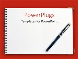PowerPlugs: PowerPoint template with black pen on spiral notebook with red background