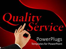 PowerPlugs: PowerPoint template with black and red quality customer service business background with hand making okay sign