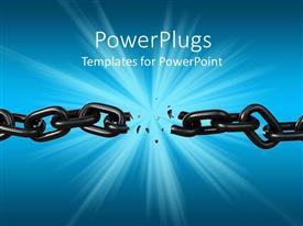 PowerPlugs: PowerPoint template with black shiny chain breaks with shattered pieces dropping