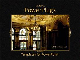 PowerPoint template displaying black template showing hotel lobby with golden interior and chandelier