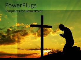PowerPoint template displaying black silhouette of man kneeling in front of a black cross silhouette in morning setting background