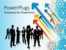 PowerPlugs: PowerPoint template with black silhouettes of business people men and women and rising colorful arrows with gears on gradient blue background