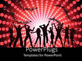 PowerPlugs: PowerPoint template with black silhouettes of dancing people on abstract floral pattern with disco lights on red and black background