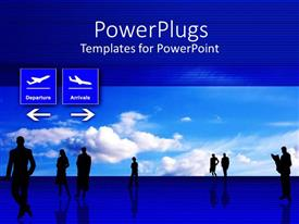 PowerPoint template displaying black silhouettes of people in airport interior with light blue sky in the background and depictions of plane departure and arrivals with direction arrows