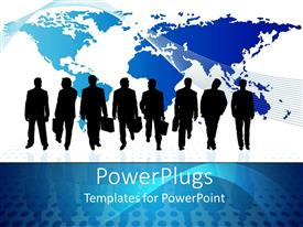 PowerPoint template displaying black silhouettes wearing business suits with plain world map on white background