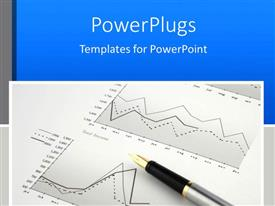 PowerPlugs: PowerPoint template with black and silver colored pen on a finance graph paper