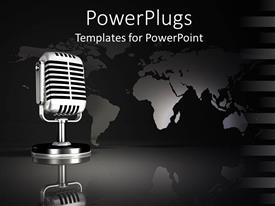 PowerPoint template displaying black and silver map behind metal microphone