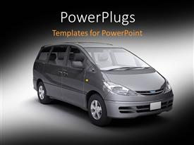 PowerPoint template displaying a black space bus on a grey colored background