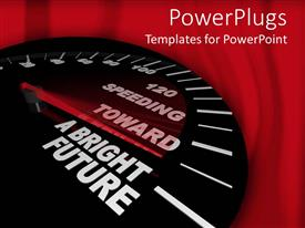 PowerPoint template displaying black speedometer with its needle pointing to the right
