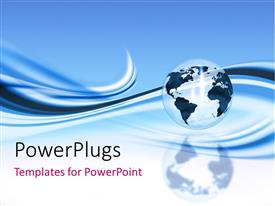 PowerPlugs: PowerPoint template with black and transparent globe with blue wave background