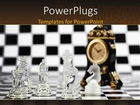 PowerPoint template displaying black and white chess board with glass chess pieces and clock