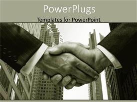 PowerPlugs: PowerPoint template with black and white depiction of two business man shaking hands with city scenery skyscrapers in the background