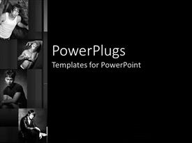 PowerPlugs: PowerPoint template with black and white four depictions of male models in various positions