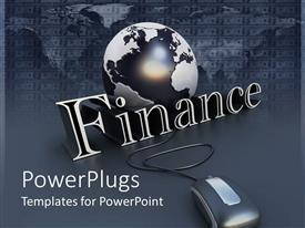 PowerPoint template displaying black and white globe behind finance and computer mouse