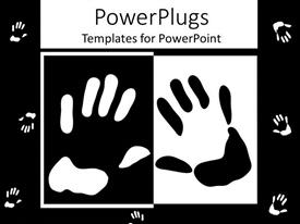 PowerPlugs: PowerPoint template with black and white hands on black and white background