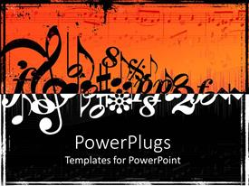 PowerPlugs: PowerPoint template with black and white musical notes on orange and black background