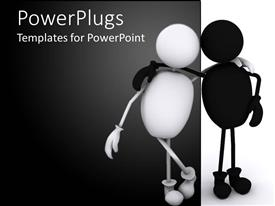 PowerPlugs: PowerPoint template with black and white person figures standing arm in arm
