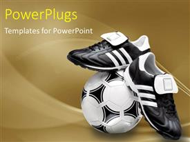 PowerPlugs: PowerPoint template with black and white soccer ball with sports boot on beautiful surface