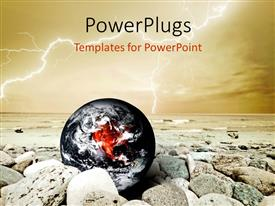 PowerPlugs: PowerPoint template with black and white themed earth globe with stones
